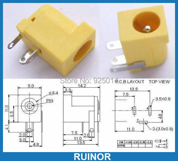 ФОТО 500 PCS Yellow 5.5mm x 2.0mm Power Charger Jack PORT PCB 2.1mm DC Socket DC-005