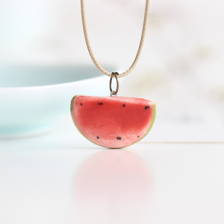 product Summer Lovely Watermelon Fruit Necklace Handiwok Ceramic Small Adorn Article Jewelry for Girl Women Rope Chain Wholesale