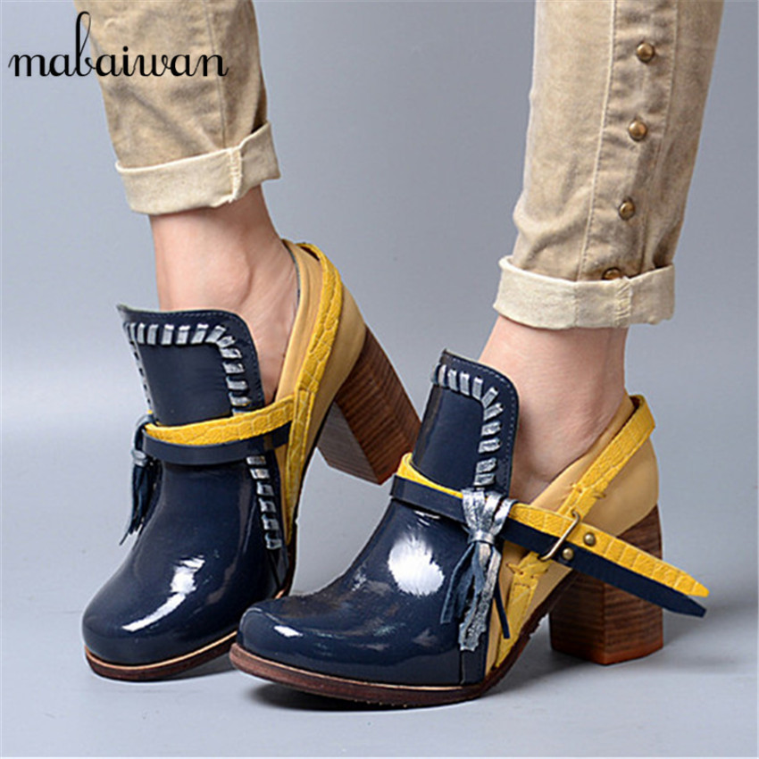 Mabaiwan Vintage Women Ankle Boots Straps Mixed Color Chunky High Heel Shoes Woman Fringed Women Pumps Martin Botas mabaiwan handmade rivets military cowboy boots mid calf genuine leather women motorcycle boots vintage buckle straps shoes woman
