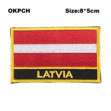Латвийская квадратная форма флаг аппликация пришить на патч железо на патчи блесток теплопередача Винил PT0098-R
