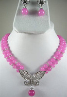 african beads jewelry set Charming! 2Rows Pink Chalcedony Necklace Earring Set Quartz Fine Bridal wide women queen
