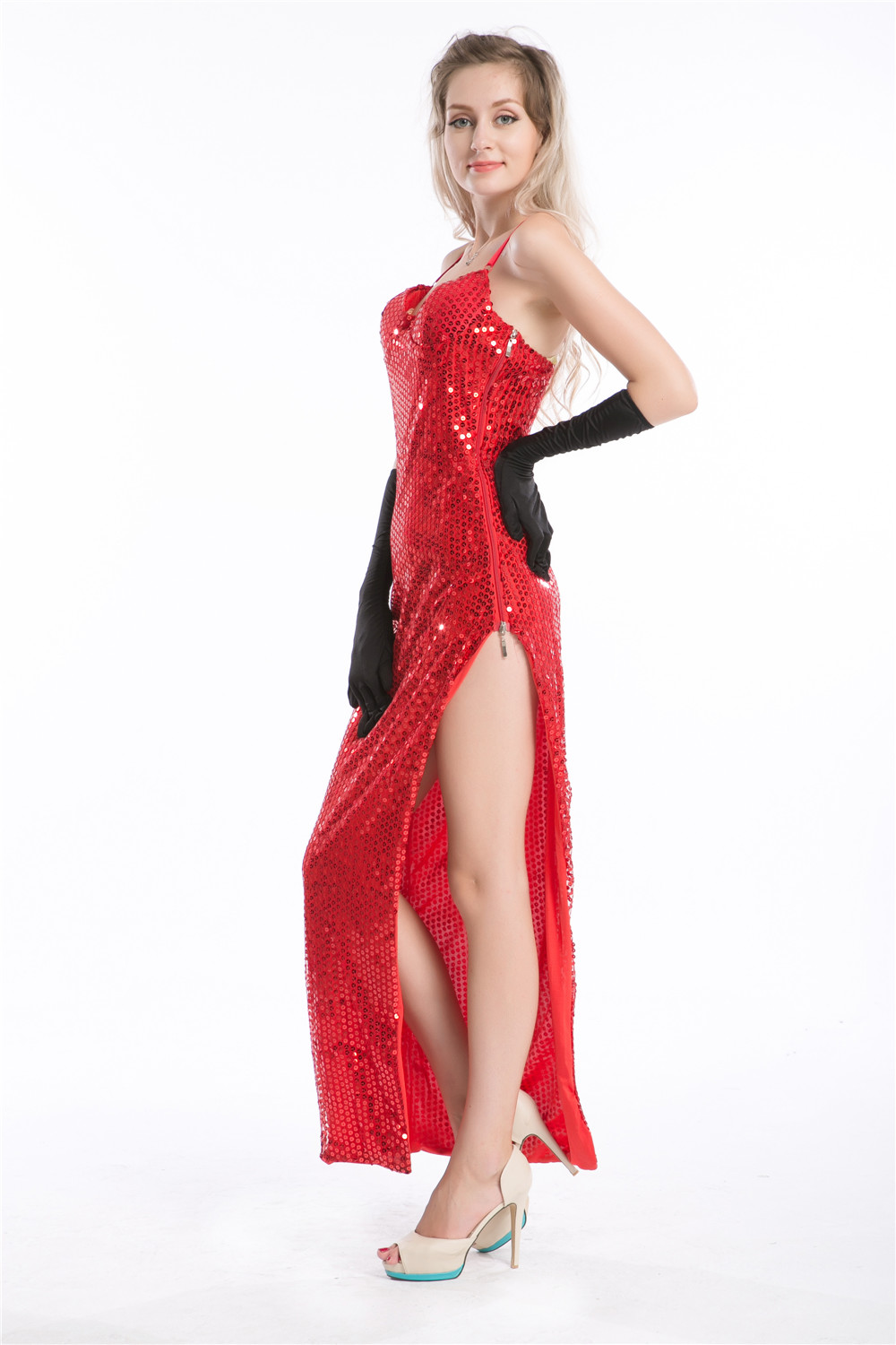 Free Shipping Ladies 80s Jessica Rabbit Costume Long Red Fancy Dress