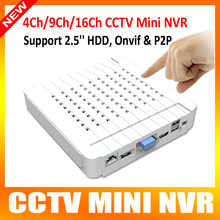P2p nube ONVIF Mini NVR 4Ch 9CH 16CH HDMI 720 P / 1080 P / 3MP / 5MP HD Network Video Recorder cctv cámara de seguridad aplicación para móviles de visión