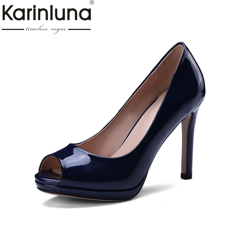 Karinluna Top Quality Big Size 34-43 Peep Toe Thin High Heels Spring Summer Shoes Women Pumps Sexy Office Party Shoes Woman karinluna best quality crystals brand big size 34 43 sexy high heels summer sandals shoes women party woman shoes