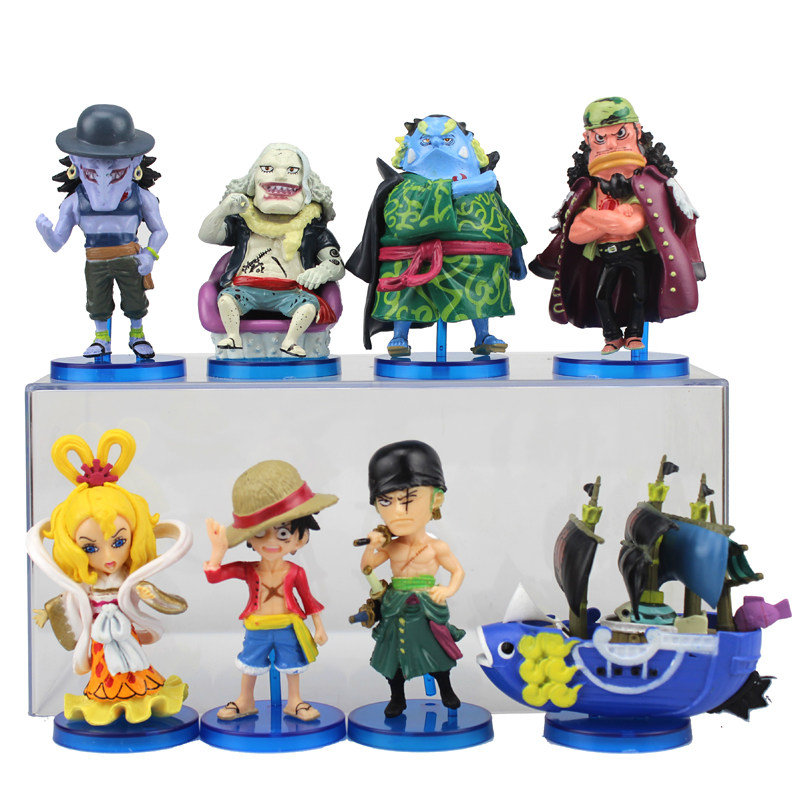 Free Shipping 8pcs One Piece Anime Luffy Zoro & New Fish-Man Pirates 95th Bag Packed 8cm PVC Action Figure Model Doll Toys Gift