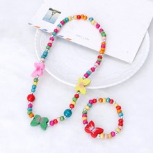 Princess wood beads Necklace Bracelet Jewelry Set Toddler Kids Costume Jewelry for Kids(China)