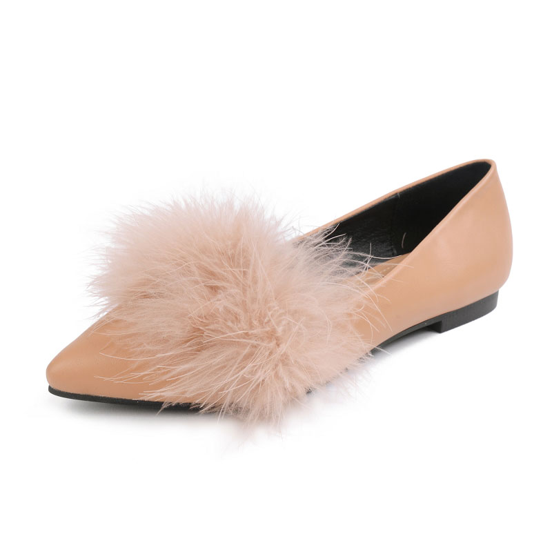 2017 Autumn Women Pointed Toe Ostrich Fur Flats Shoes Slipony Ballet  Loafers Wedding Nude Designer Brand Chiara Ferragni Mules-in Women s Flats  from Shoes ... 94cb436a9083
