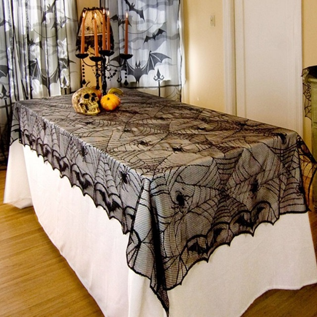 Table Cloth European Black Spiders Spiderweb Tablecloth Fabric Party  Halloween Decoration Lace Gothic Costume Decor Rectangular
