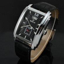Marca Goer Reloj de Los Hombres Correa de Cuero Mecánico Automático Relojes de Los Hombres del Rectángulo Relojes Auto Fecha Segundero Pequeño Relogio masculino