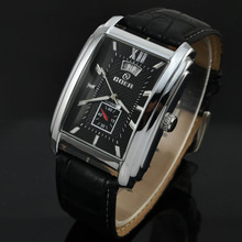 Brand Goer Watch Men Leather Strap Automatic Mechanical Watches Men Rectangle Watches Auto Date Small Seconds Relogio Masculino
