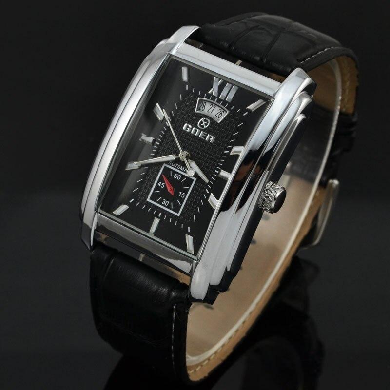 Marca Freqüentador Homens Relógio Pulseira De Couro Relógios Mecânicos Automáticos Homens Relógios Retângulo Auto Data Pequenos Segundos Relogio masculino