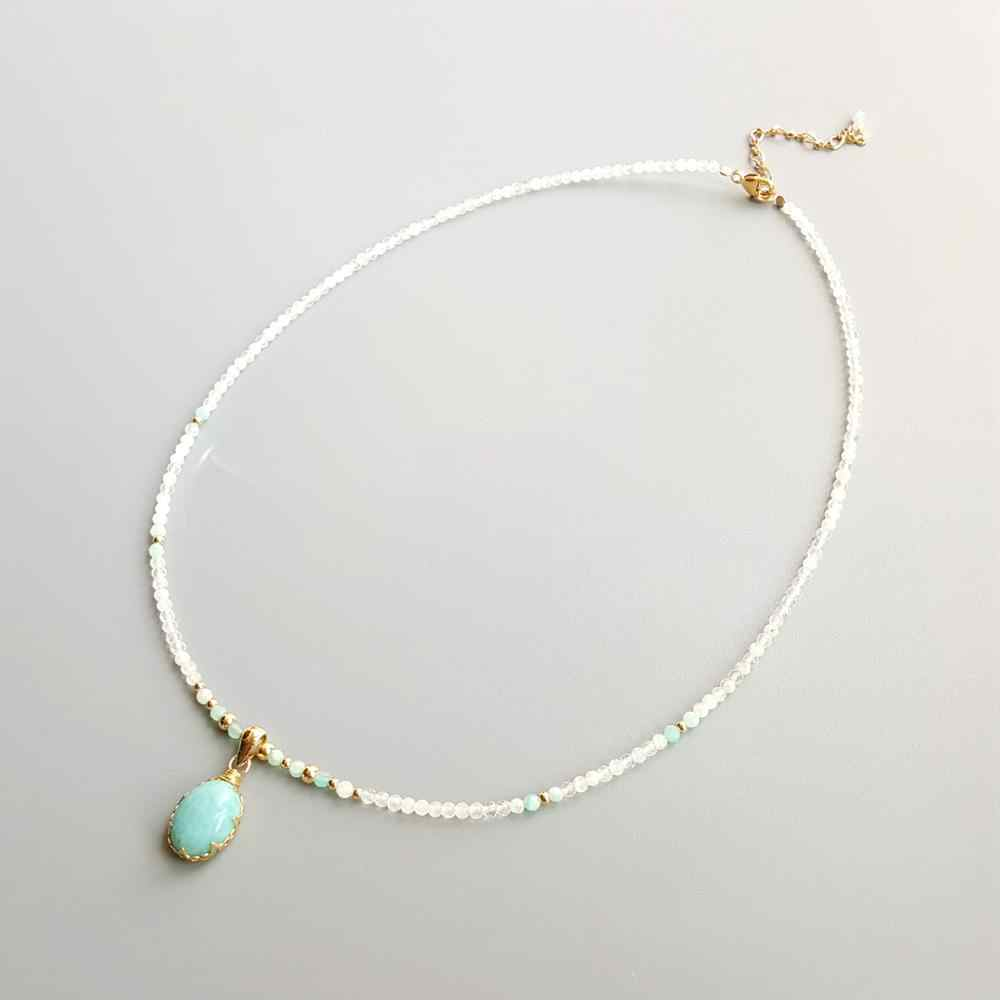 Lii Ji ของแท้ Moonstone Amazonite จี้ Larimar Charms 9 K G-F Delicated Handmade สร้อยคอ