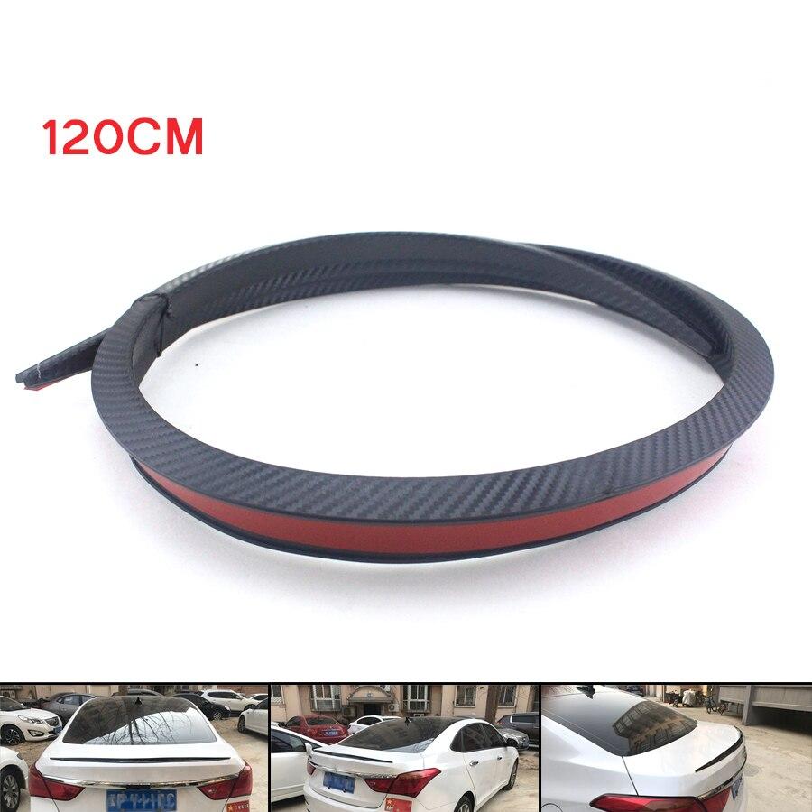 Carbon Fiber 1.2M Car Rear Roof Trunk Spoiler Rear Wing Lip Sticker Accessory