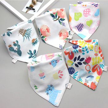 Baby Bibs Triangle Double Cotton Bibs 5 pieces/lot Cartoon Print Saliva Towel Baby Boys Girls Feeding Apron Cotton Bandana Bibs 4