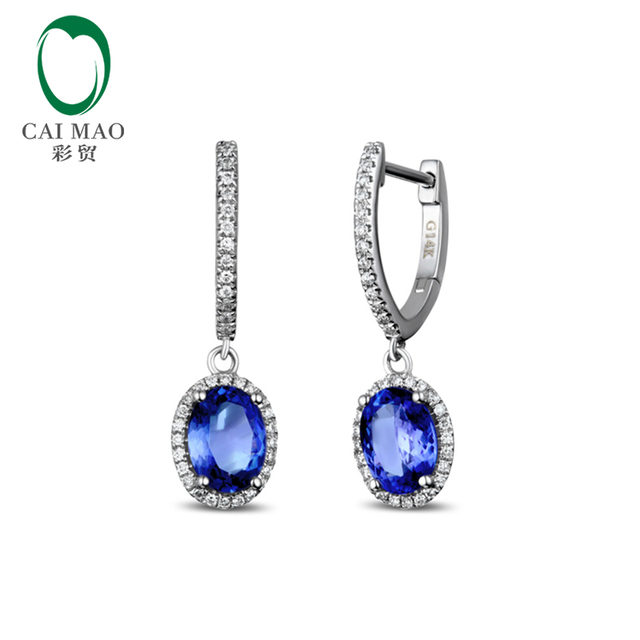 Caimao 6x8mm Natural 2.88ct AAA Tanzanite 14K White Gold Diamond Drop Earrings