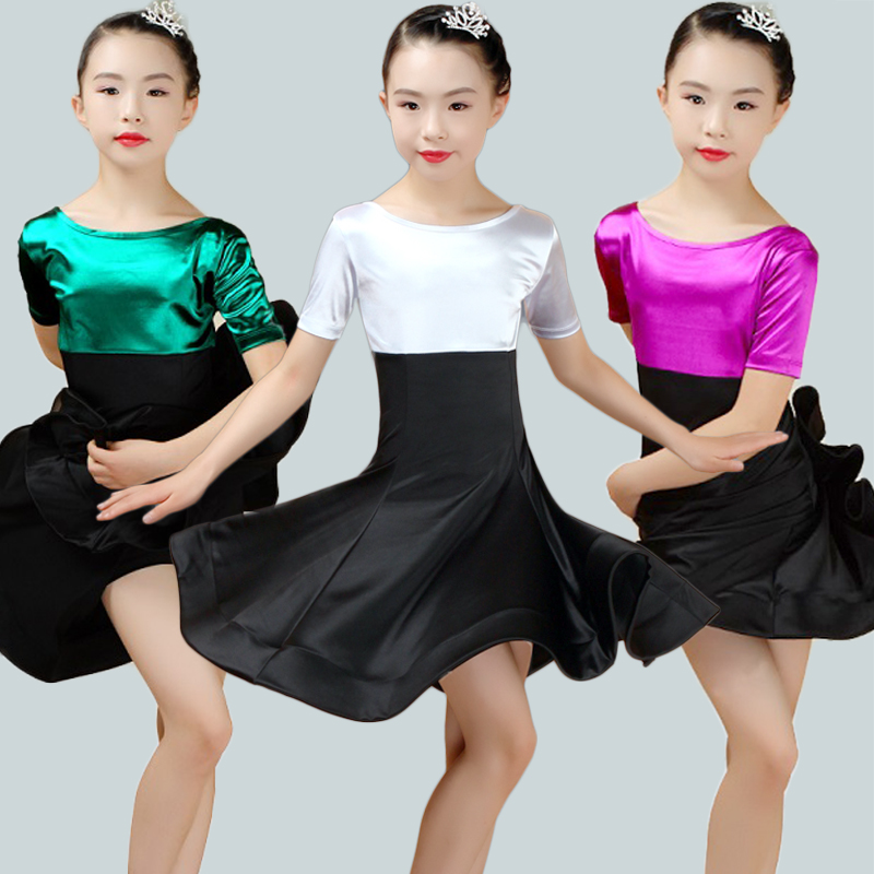 Latin Dance Dress For Girls Short Sleeve Bright Satin Competition Dancewear Children Ballroom Dancing Dresses For Kids DN2220