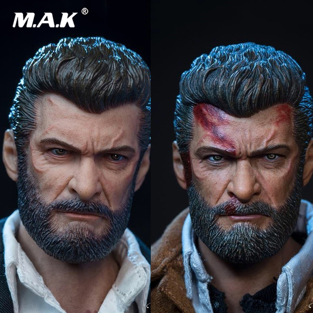 """1/6 Normal/Damaged Ver. Wolverine Male Head sculpt & Male Body Figure Military Muscular Head Carving Model for 12"""" Action Figure"""