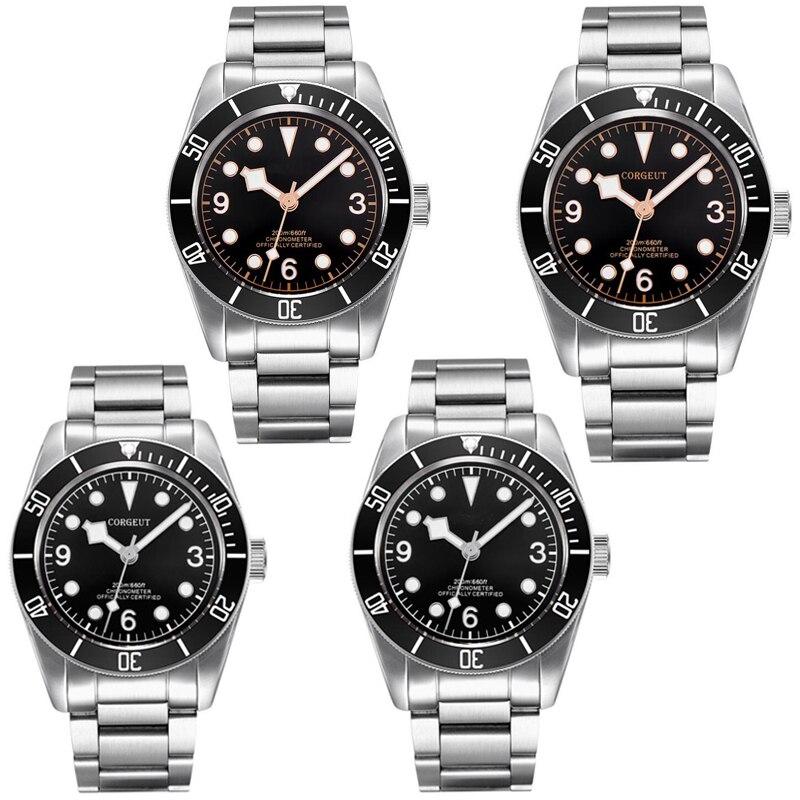 41mm Corgeut czarna tarcza złote znaki czarny Bezel sapphire szkło bransoletka MIYOTA automatyczny zegarek męski mężczyźni w Zegarki mechaniczne od Zegarki na  Grupa 1