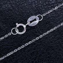 RINYIN Genuine 18K White Gold Necklace Pure AU750 Cute Rolo Chain 1mm Width 16 - 36 Inches