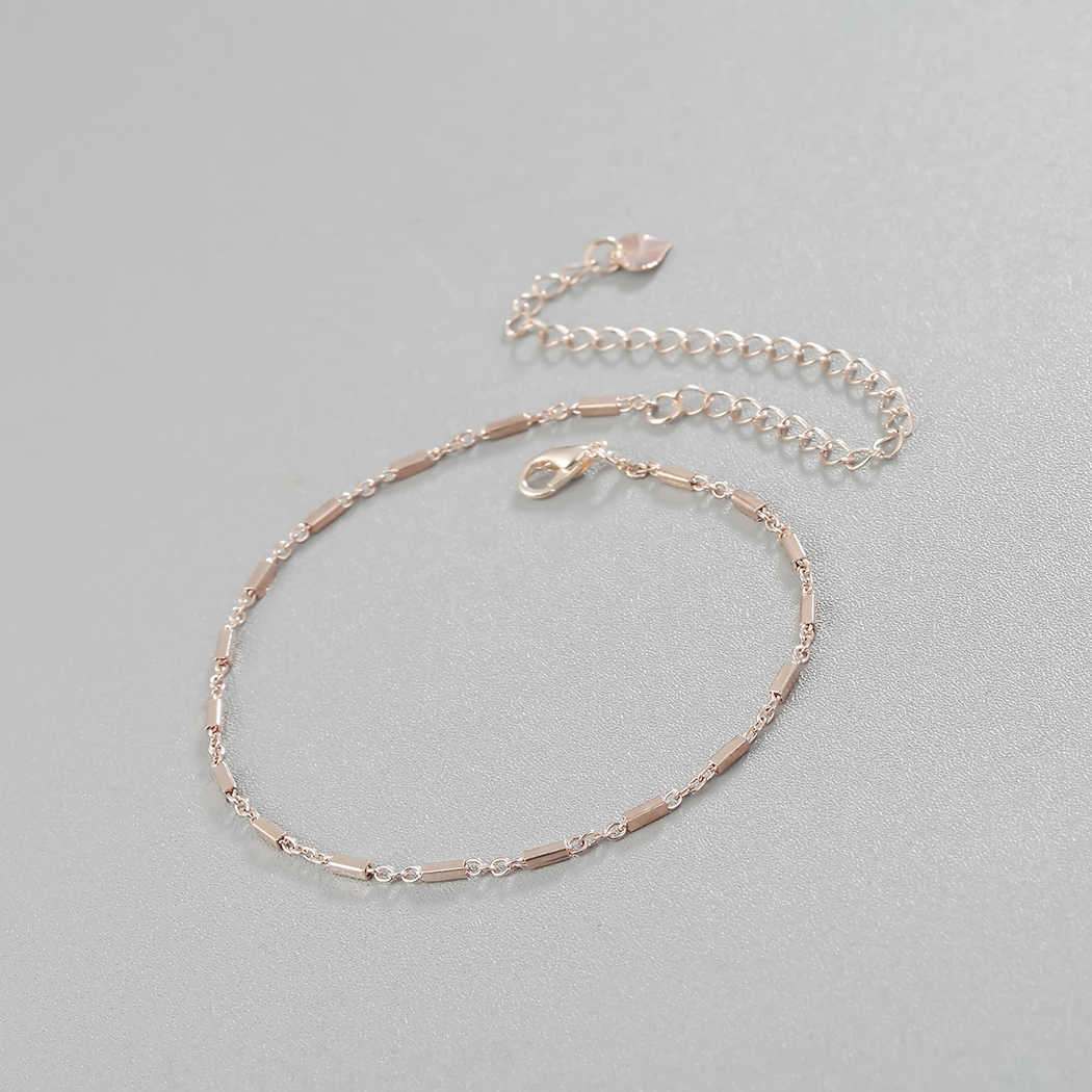 Geometryczne Multi Bar Charms obrączki dla kobiet moda pręt kwadratowy łańcuszek na kostkę różowe złoto dekoracja bransoletka plaża stóp biżuteria