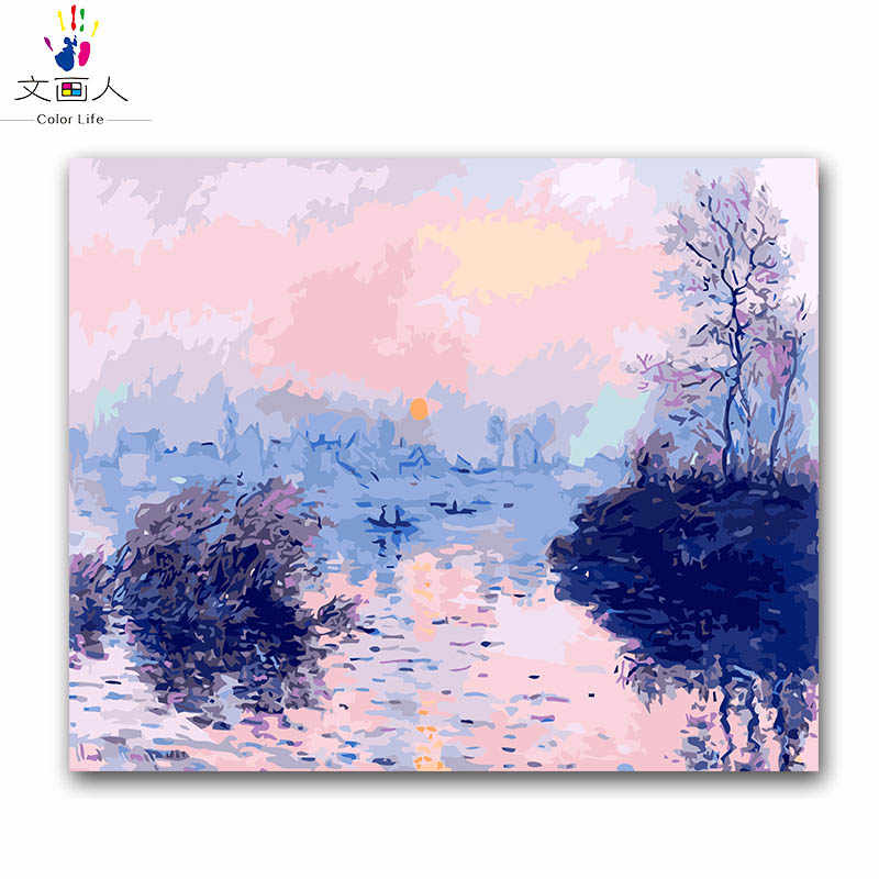 "Coloring by numbers ""Sunset creek"",""impression sunrise"" Monet's paintings pictures paints by numbers with colors for hoom decor"
