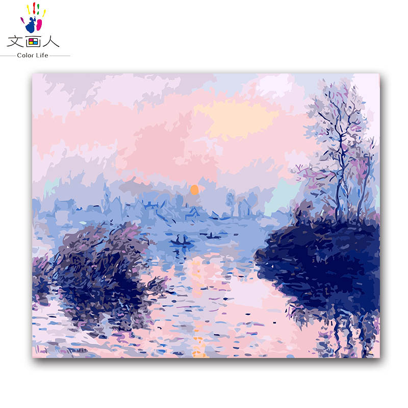 Coloring by numbers Sunset creek,impression sunrise Monets paintings pictures paints by numbers with colors for hoom decorColoring by numbers Sunset creek,impression sunrise Monets paintings pictures paints by numbers with colors for hoom decor