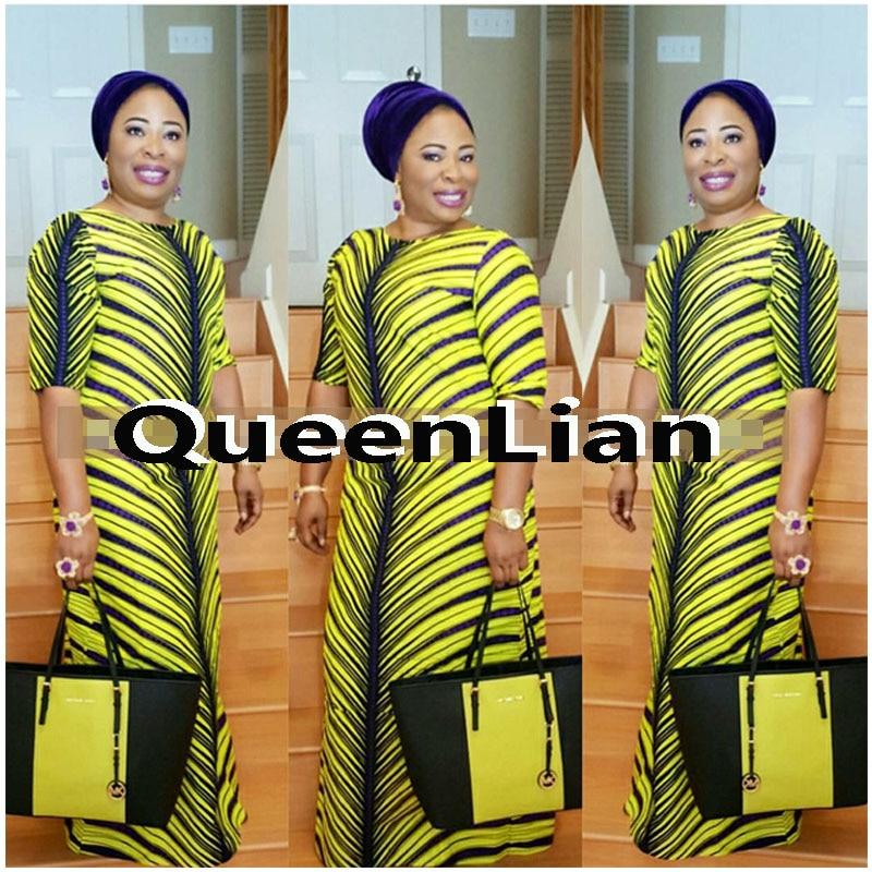 2017 African Dashiki New Dashiki Traditonal Fashion Pattern Design Bazin Super Elastic Party Dress For Lady (KQ#)