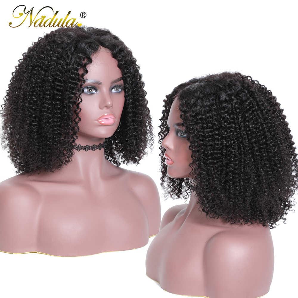 Nadula pelo 13*4 Bob corto Pelo Rizado de Mongolia pelucas para mujeres rizado del pelo humano del frente del cordón peluca Bob peluca con malla frontal