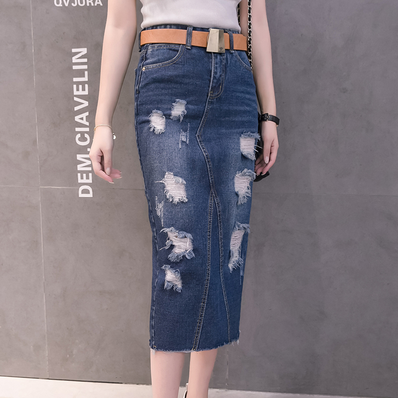 clearance prices outlet best supplier US $22.67 |Denim Skirt 2018 Women Autumn/Summer Vintage Ripped Denim Skirt  Slim Office Skirt Sexy Pencil Skirt Women Jeans Plus Size E0749-in Skirts  ...