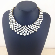 Luxury Shining Women Glam Crystal Statement Necklace Bib Chunky Choker Jewelry Necklaces Pendants High Quality Fashion Necklaces