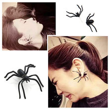 2019 New Halloween Decoration 1PC 3D Creepy Punk Black Spider Earrings Animal Haloween Stud Ear cuff Earring for Party DIY Decor(China)