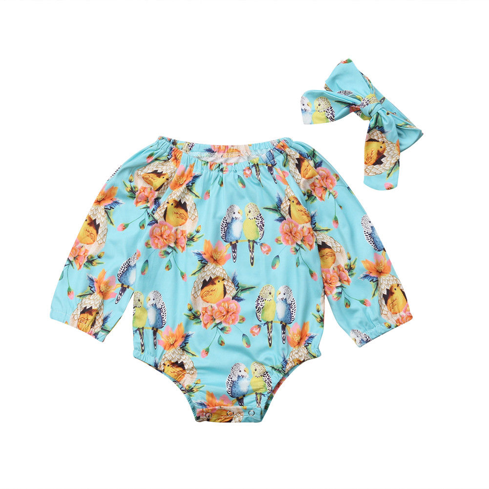 2018 Fashion Cotton Newborn Baby Girl Animal Clothes Jumpsuit Bodysuit Headband Outfit Set Long Sleeve Bird Print Clothing 2pcs