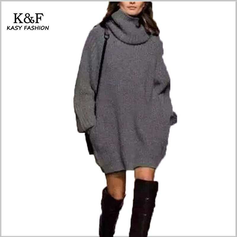 KASY Women Winter Highneck Long Sleeve Knit Sweater Dresses 2018 Spring Chic Outfits Loose Style Pockets Warm Winter Dresses
