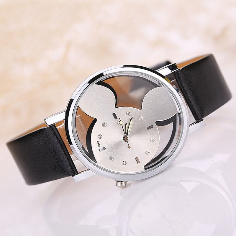 92ca0feaf Fashion Mickey Watches Kids Watches Casual Women Watches Leather Strap  Quartz Wristwatch Hollow Transparent Watch Dames