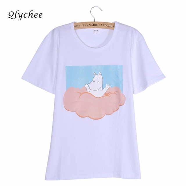 qlychee moda verão camisas casual t mulheres bonito dos desenhos