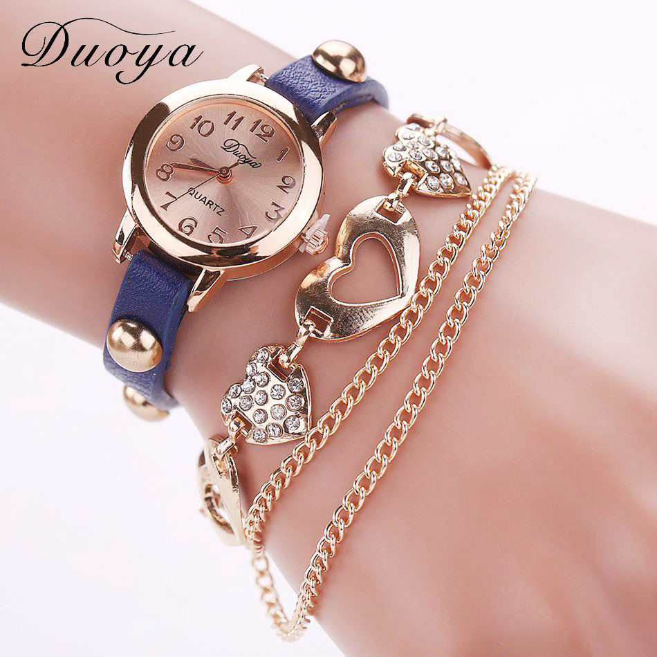 Brand New Duoya Watches Women Brand Gold Heart Luxury Leather Wristwatches Women Dress Bracelet Chain Bracelet Watch July15