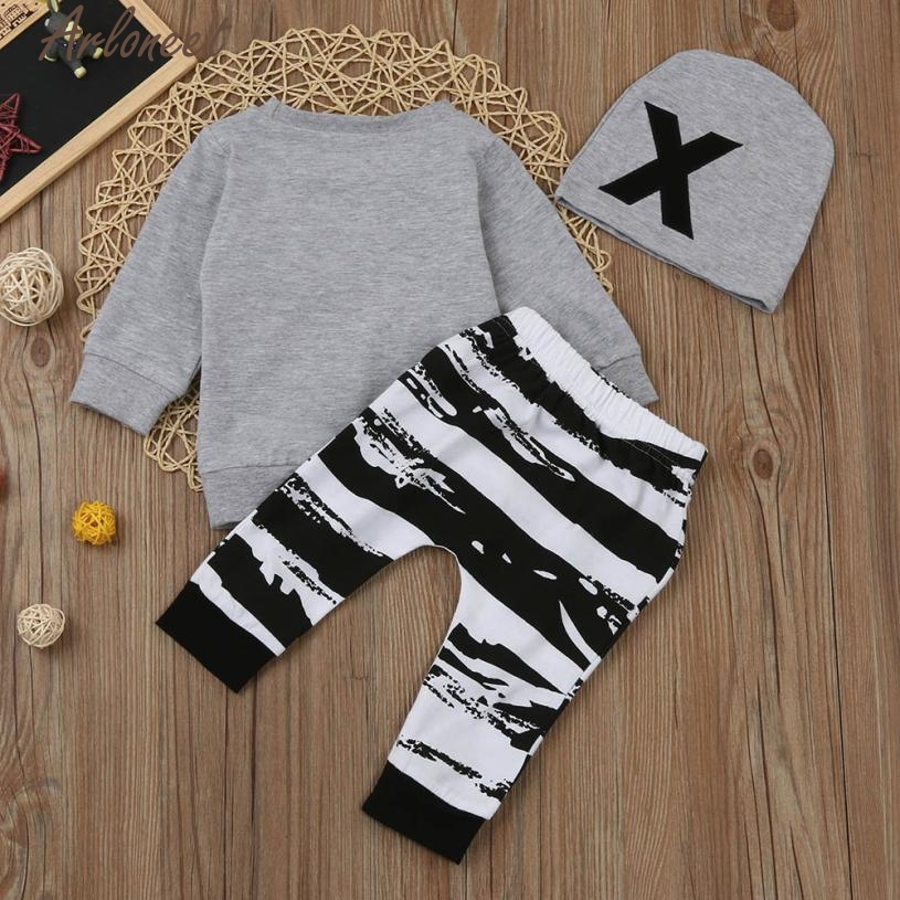 New Year Fashion Baby Boy Girl Clothes Newborn Baby Boy Girl Long Sleeve Letter Print Tops+Pant+Cap Outfits Clothes Set #