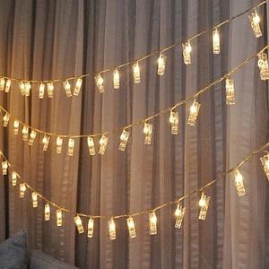 Image 2 - אורות מחרוזת קישוט חתונה אישית כוכבים בעל תמונה קליפ תפאורה חלון חדר ספר סידורי חג המולד סוללה