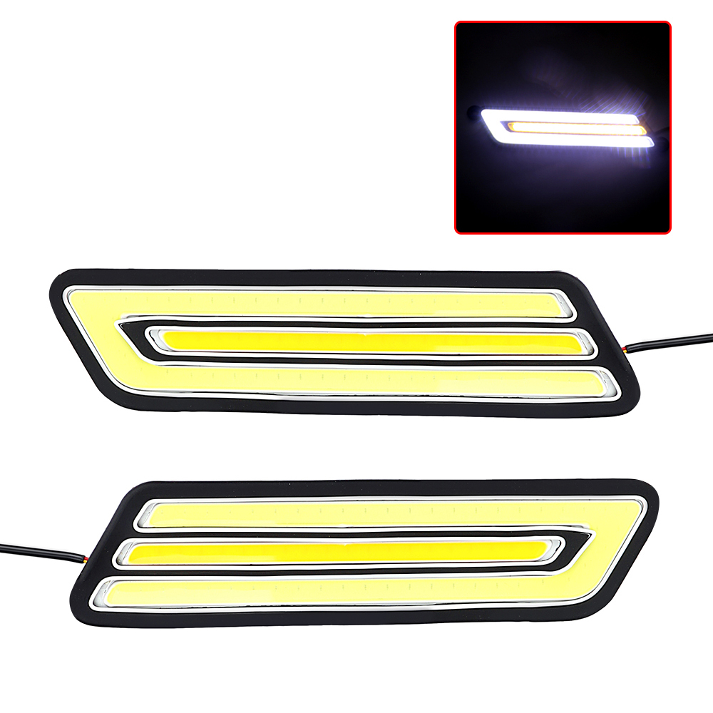 1 Pair Fog Lamp Daytime Running Light Turn Signal Lamps LED Car DRL Super Bright Flexible COB Reversing Light Car-styling