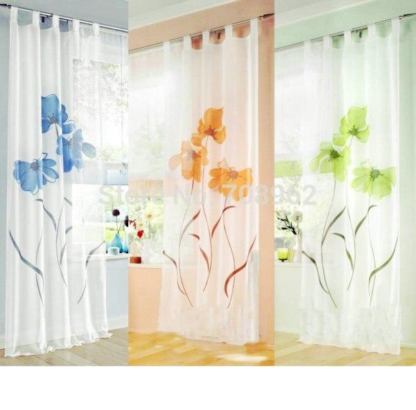 Duitse handgemaakte inkjet bloemen ontwerp venster voile gordijnen ...