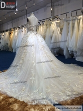 2014 luxury charming custom made champagne color very puffy skirt wedding dress with long veil