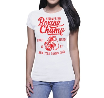 2019 New Summer Slim fit T-shirt T - SHIRT DONNA BOXING CHAMPION RED ILLUSTRATION VINTAGE Women cute Tee Shirt
