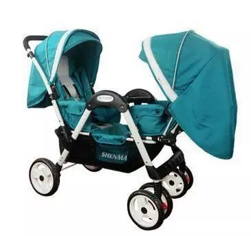 цена на Twin baby stroller double face-to-face shockproof collapsible trolley can sitting and lying