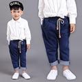 Бесплатная Доставка НОВЫХ Прибытия Высокого Качества Детская Одежда мальчиков брюки случайные джинсы Drawstring Стиральная брюки для весны и осени
