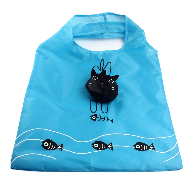 2017 ISHOWTIENDA Cartoon Cat Portable Folding Shopping Bags Thicker Oversized Hand Bags Top