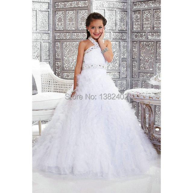 Girls Pageant Dresses 2014 Halter Crystal Evening White Gowns Kids ...