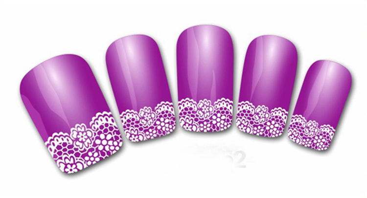 1pc/pack Fashion Hot Sale White Flower Lace 3D Nail Art Stickers Decals Self Adhesive Nail Decoration 2