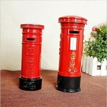 European Retro London Metal Mailbox Piggy Bank Creative Crafts Alloy Mail Box