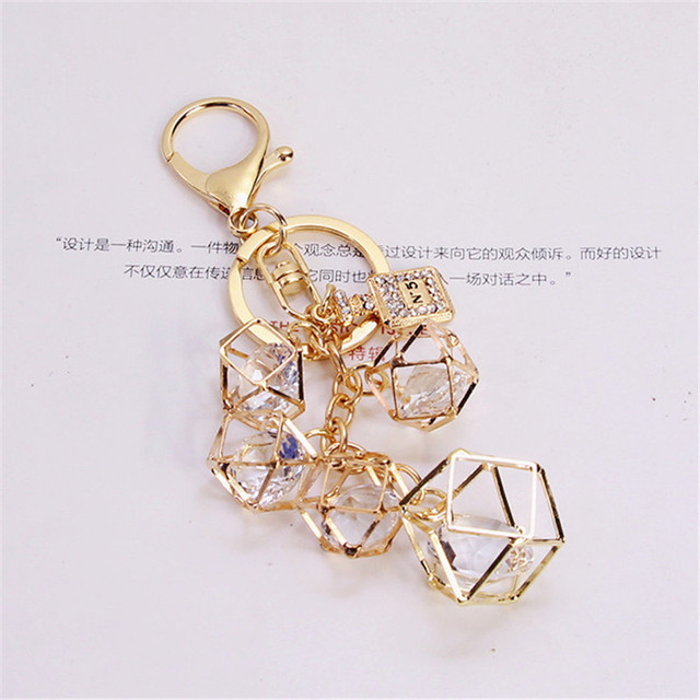 Fashion personality geometric key chain Keychain women car Keychain Creative Couple Key Ring
