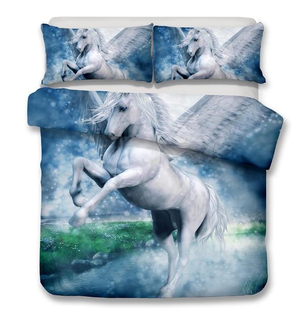 Drop Shipping 3D Digital Printing Animals Pegasus Bedding Set 100% Microfiber  AU Queen  king  size Drop Shipping 3D Digital Printing Animals Pegasus Bedding Set 100% Microfiber  AU Queen  king  size
